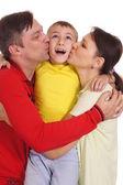 Linda familia en blanco — Foto de Stock