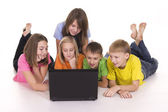 Kids with computer — Stock Photo