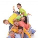 Funny family on white — Stock Photo