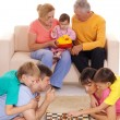 Family and chess — Stock Photo