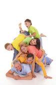 Funny family on white — Foto Stock