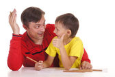 Father and son drawing — Foto Stock