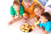 Family with buns — Stock Photo