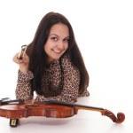 Pretty girl and violin — Stock Photo