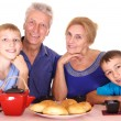 Stock Photo: Grandparents and kids
