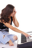 Girl with piano — Stock Photo