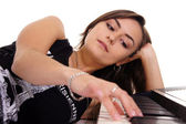 Musician with piano — Stock Photo