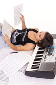 Woman at piano — Stock Photo
