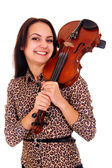 Pretty girl with violin — Stock Photo