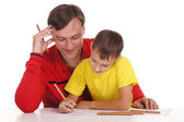 Father and son drawing — Stock Photo