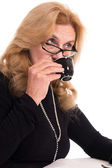 Old lady with cup — Stock Photo