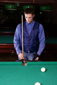 Guy playing billiards — Foto de Stock