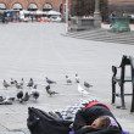 Copenhagen: homeless woman — Stock Photo