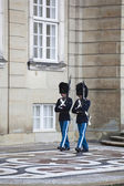 Copenhagen: danish royal guard at amalienborg palace — Stock Photo