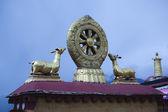 Tibet: dharma wheel — Stock Photo
