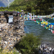 Stock Photo: Tibet: rope bridge with prayer flags
