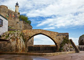Castro Urdiales lighthouse and bridge — Stock Photo