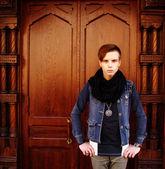 Young man looking at — Stock Photo