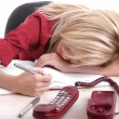 Blond office girl sleeping — Stock Photo