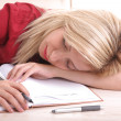 Blond office girl sleeping — Stock Photo