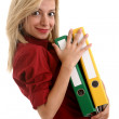 Office girl carrying folders — Stock Photo