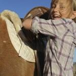 Girl Happy Saddles on Pony — Stock Photo #10522679