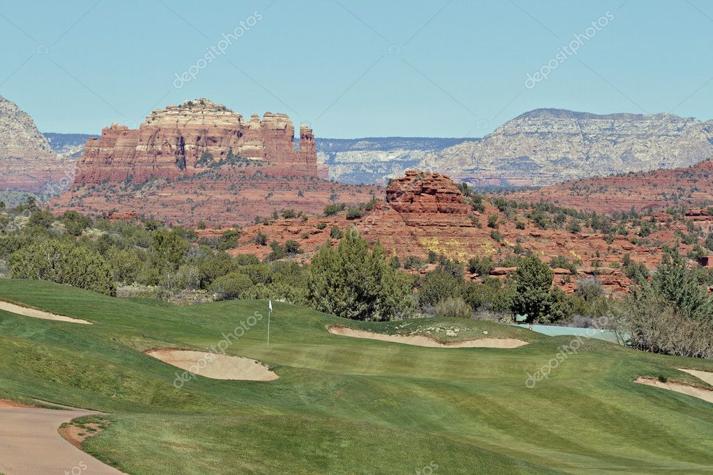 A scenic landscape of a beautiful golf course near sedona arizona  Stock Photo #9355797