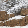 Granite Cliffs in Winter - Stock Photo