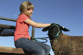 Blonde Girl and Lamb — Stock Photo