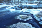Winter river with deeply blue water. A landscape — Stock Photo