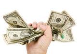 Een hand vol van ons dollar — Stockfoto