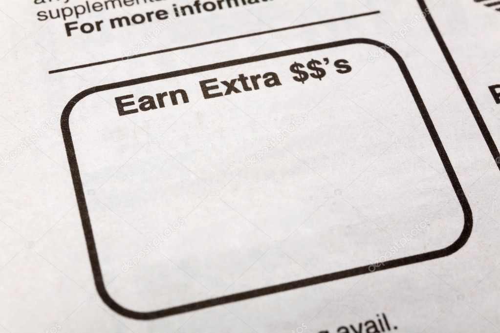 Newspaper earn extra dollars ad, Employment concept — Stock Photo #10081945