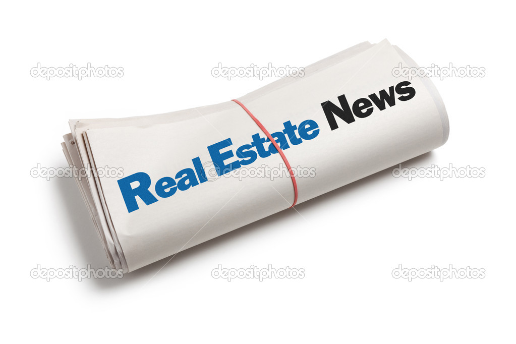 Real Estate News, Newspaper roll with white background — Stock Photo #10407494