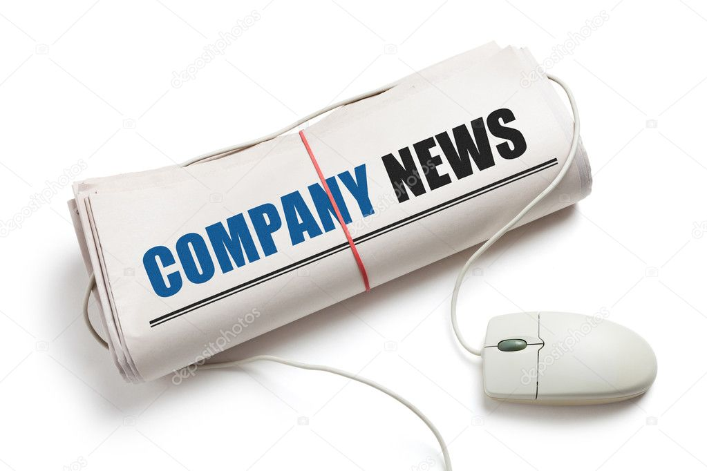 Company News, Computer mouse and Newspaper Roll with white background — Stock Photo #10695569