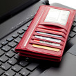 Red Wallet and keyboard — Stock Photo #8028705