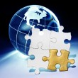 Globe and White Puzzle — Stock Photo