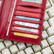 Red Wallet and keyboard — Stock Photo #8179402