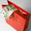 Red Shopping Bag and Dollar — Stock Photo