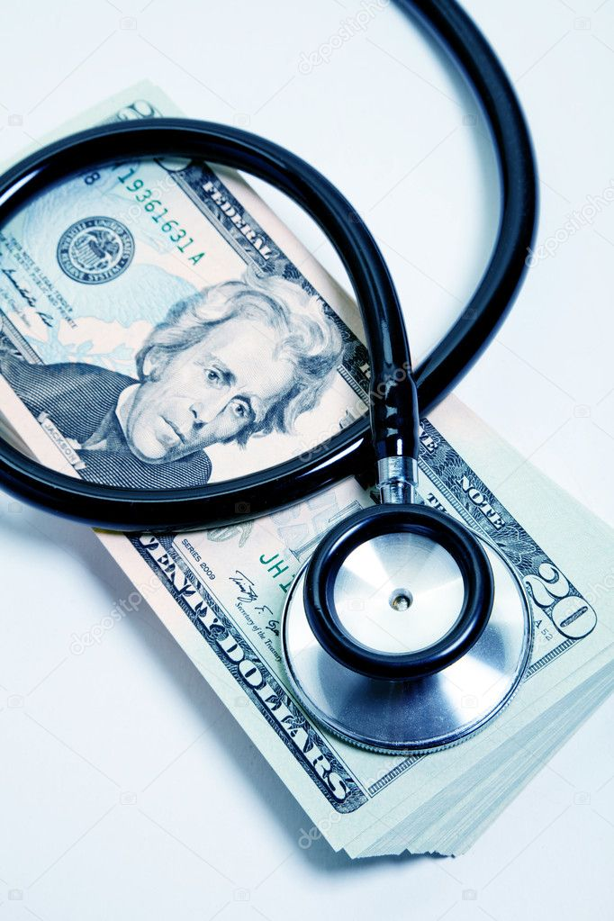 Stethoscope and dollar, concept of Financial Health — Stock Photo #8890441