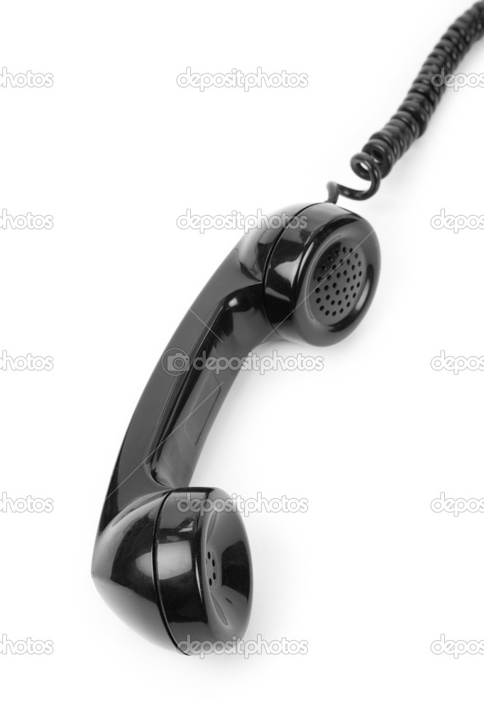 Black telephone Receiver with white background — Stock Photo #8930330