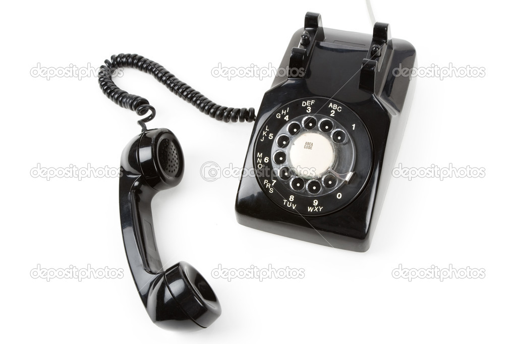 Black telephone Receiver with white background — Stock Photo #8930343