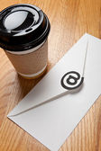 Coffee cup and E-Mail — Stock Photo