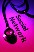 Stethoscope and Social Network — 图库照片