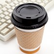 Coffee Cup and Computer Keyboard — Stock Photo