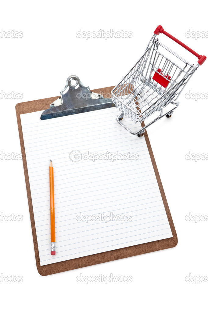 Shopping Cart and Clipboard, Concept of Shopping List — Stock Photo #9091399