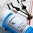 Clock and Pill Bottle - Foto Stock