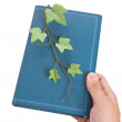 Blue book and Sprout — Stockfoto #9494926