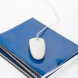 Blue school textbook and computer mouse — Stock Photo