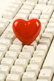 Red Heart Shape and keyboard — Stock Photo