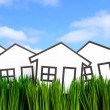 House and green grass — Stock Photo